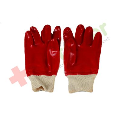 PVC Knitwrist Red Glove